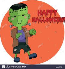 Cute Halloween Vector Cute Halloween Character Frankenstein Stock Vector Art