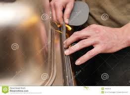 kitchen sink rubber mats craftsman putting gasket on the kitchen sink stock photo image of