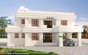 u20b955 lakhs cost estimated white flat roof house kerala home