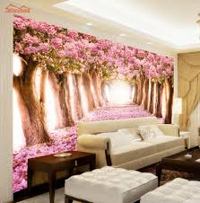 Wall Mural Sunrise In A Forest Wall Paper Self Adhesive Online Buy Wholesale Wallpaper Landscape Forest From China