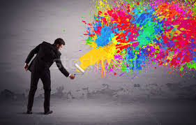 Paint Colorful - person painting sales person painting colorful splatter stock