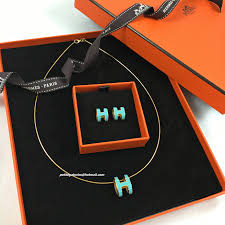 h earrings just arrived bnib hermes matching pop h earrings necklace set in