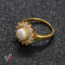 gold coloured rings images Pearl finger rings just like gold and diamonds pearl finger jpg