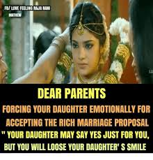 Meme Marriage Proposal - fb love feeling raja rani mathew lu dear parents forcing your