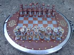 steampunk bolt and gear chess set complete with pieces and board