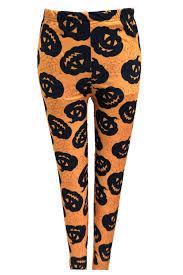 ladies halloween orange black leggings pants spider web pumpkin