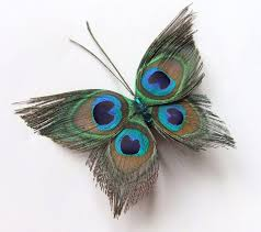 butterfly hair clip butterfly peacock wedding hair clip accessory peacock feather