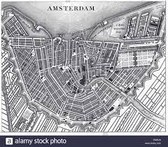 Map Of Amsterdam Engraved Illustration Of The Map Of Amsterdam Holland From Stock