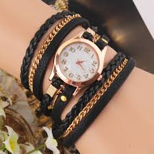 multi strap bracelet images Casual women woven wrap strap pu leather band bracelet watch jpg