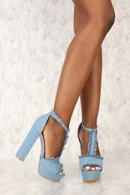 Light Blue High Heels Light Blue Denim T Strap Platform Chunky High Heels