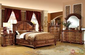 Bellagrand Luxurious Antique Tobacco Oak Bedroom Set Dovetail - Luxury king bedroom sets