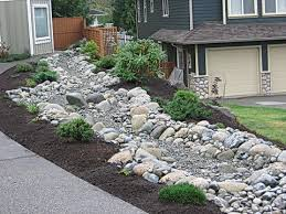 extraordinary dry river bed gardens designs indicates luxurious