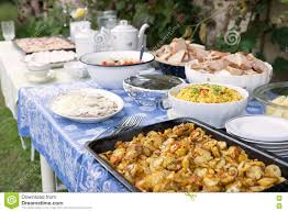 outdoor summer wedding party event catering banquet with food and