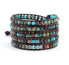 beaded wrap bracelet images Boho natural stone leather wrap bracelet unisex semi precious jpg