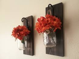 Wall Sconces For Flowers Set Of Mason Jar Wall Sconces Mason Jar Sconce Mason Jar