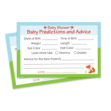 woodland animals baby advice and prediction cards set of 20
