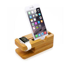 bamboo charging dock station charger holder stand for apple watch