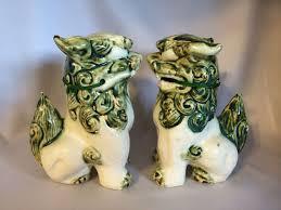 fu dog statues vintage foo dog statues shi shi guardian lions green and
