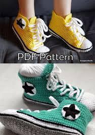 pattern crochet converse slippers converse inspired size women 6 11 or men 5 10 us sneakers crochet