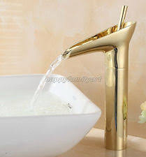 Waterfall Style Faucet Polished Gold Brass Bathroom Sink Basin Mixer Tap Waterfall Style