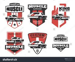 toyota car logo set classic muscle car logo emblems stock vector 458992936