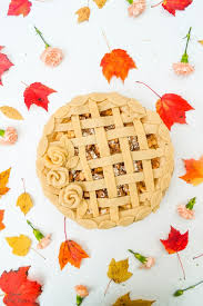 autumn apple pie with pie dough roses leaves floral