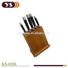 cutlery set with stand 5 pcs stainless steel kitchen knife set with wooden rotating block