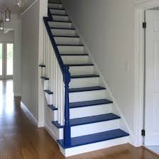 accenting a white staircase with a dark paint color is as