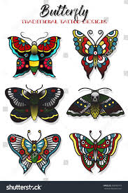 vector butterfly mole traditional tattoo designs stock vector