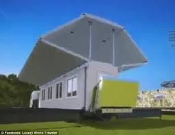 russian company reveals collapsible house that automatically folds