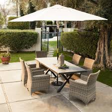 Outdoor Patio Dining Sets With Umbrella - belham living bella all weather wicker 7 piece patio dining set