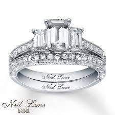 neil emerald cut engagement rings jared neil bridal 2 1 8 ct tw diamonds 14k white gold