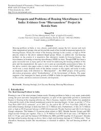 prospects and problems of housing microfinance in india evidence
