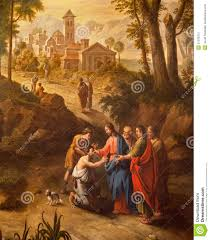 Jesus Healed The Blind Man Gent Christ Healing The Blind Men On The Road To Jericho Stock