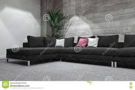 Wood Wall Living Room Long Sofa In Modern Room With Rustic Wood Wall Stock Illustration