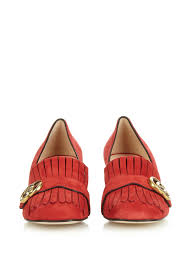 womens gucci boots sale gucci marmont fringed suede pumps in lyst
