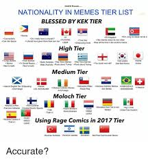 Memes List - emafd presents nationality in memes tier list blessed by kek tier