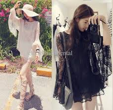 loose flower lace sheer bell sleeve long top mini dress black