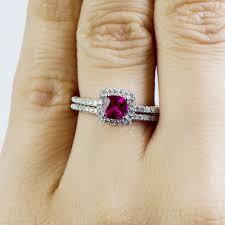 5 Carat Cushion Cut Engagement Rings 5 Ct Cushion Cut Red Cz Wedding Ring Set