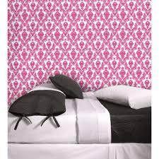 Fuschia Bedding Wall Decor Chic White And Fuschia Tempaper Wallpaper Plus Cute