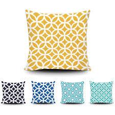 coussin de canapé design abstraite géométrique coussin design de mode bleu jaune