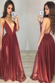 backless prom dress burgundy prom dress c neck chiffon prom