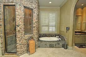Rustic Master Bathroom Ideas - rustic master bathroom with inset cabinets u0026 crown molding