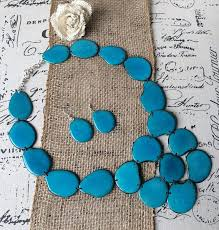turquoise necklace set images Tagua nut turquoise statement necklace and earrings set jpg