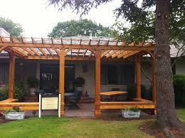 cedar pergola with built in bench seating outdoor pinterest