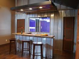 Home Bar Decor Ideas Best Design Of Diy Home Bar With Metal Walls Also Cafe Stools