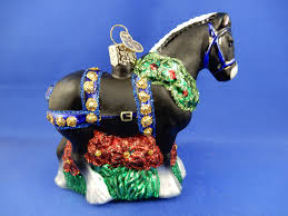 black clydesdale blown glass animal christmas ornament decoration