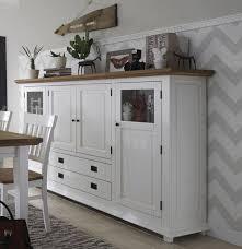 Esszimmergarnitur Fichte Highboard Wohnzimmermöbel Weiß Wildeiche 4 Türig Roxanne