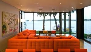 Living Room  Low Seating Arrangement In Living Room Burnt Orange - Orange living room set