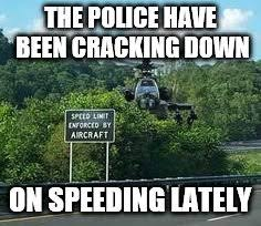 Speeding Meme - image tagged in police speeding ticket helicopter imgflip